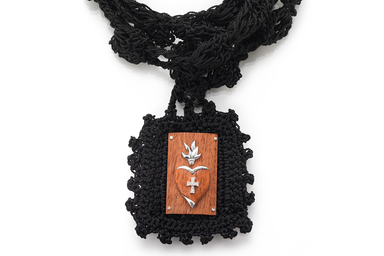 Black Hand-Crocheted Scapular with Sacred Heart Wood & Silver Reminder Frame