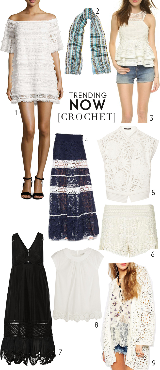 [ 1.  white dress  | 2.  blue scarf  | 3.  white crochet sleveless vest  | 4.  navy and white crochet skirt  | 5.  white cross front top  | 6.  white shorts  | 7.  black dress  | 8.  white cap sleeve top  | 9.  white cardigan throw-on ]