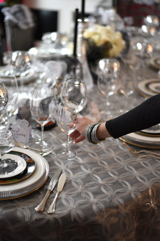 Always match your jewelry to your tablescape! ( Black  and  Silver All Weather Bangles )