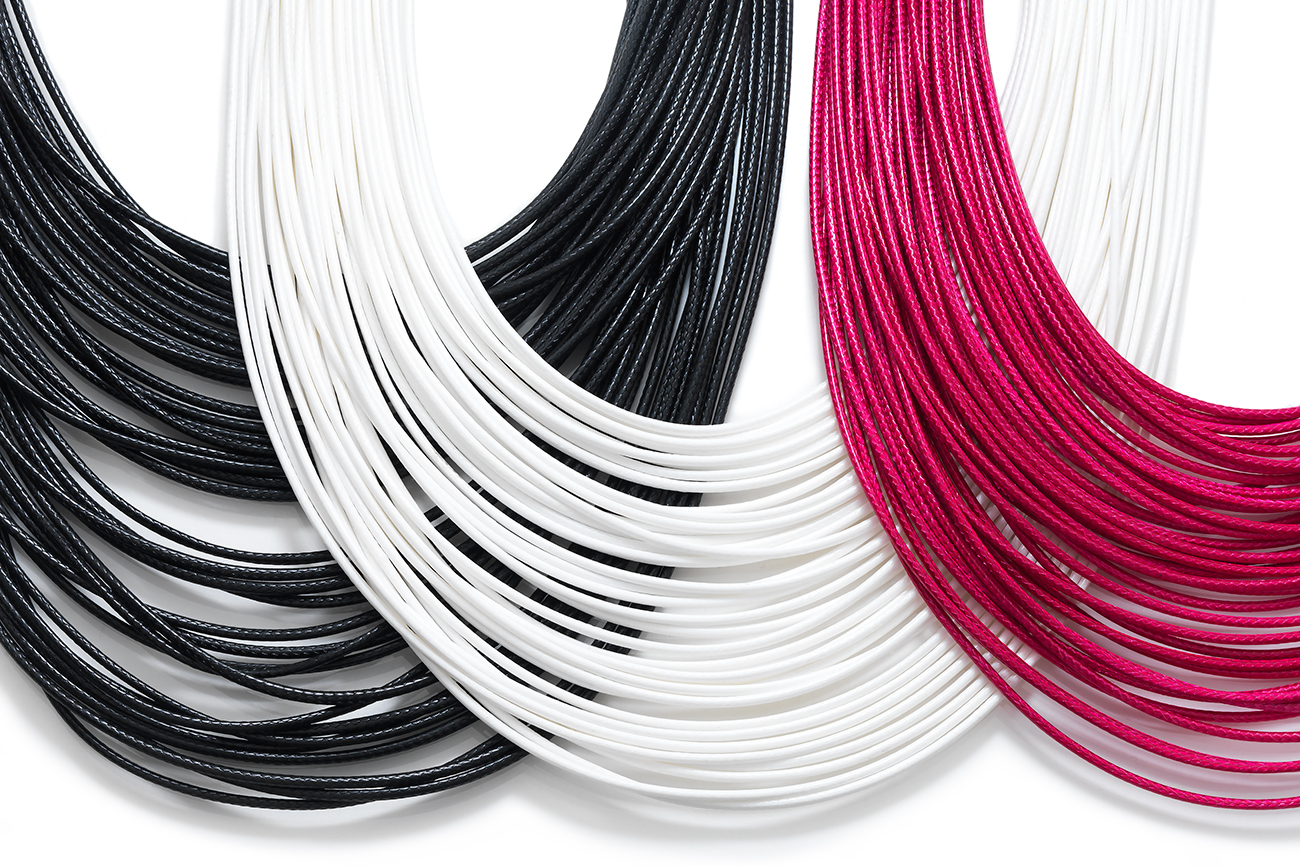 Strand necklace #36 in black, white and pink