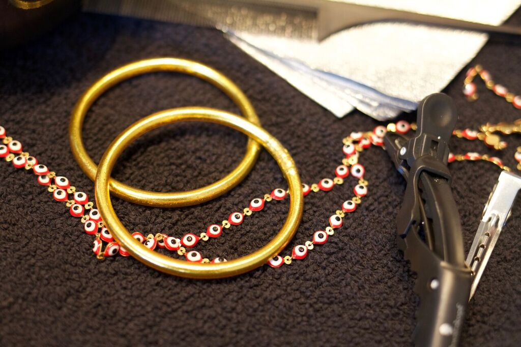 Gold All Weather Bangles and Evil Eye Necklace
