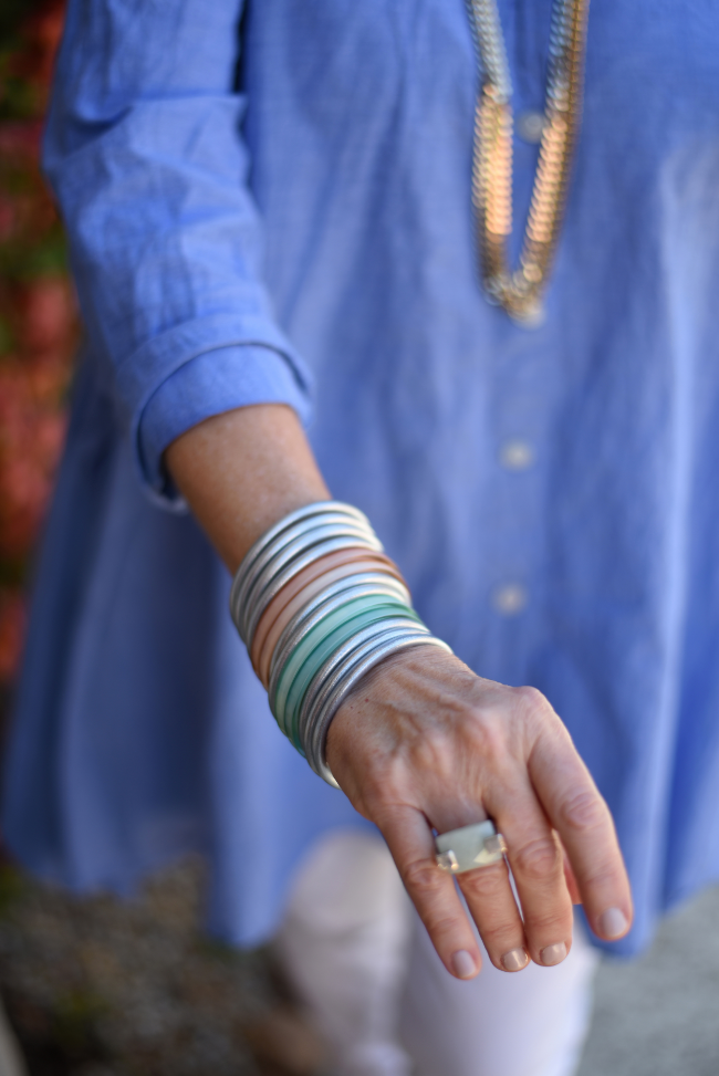 All Weather Bangles  mixed with  Exuma Bangles for ultimate spring style.