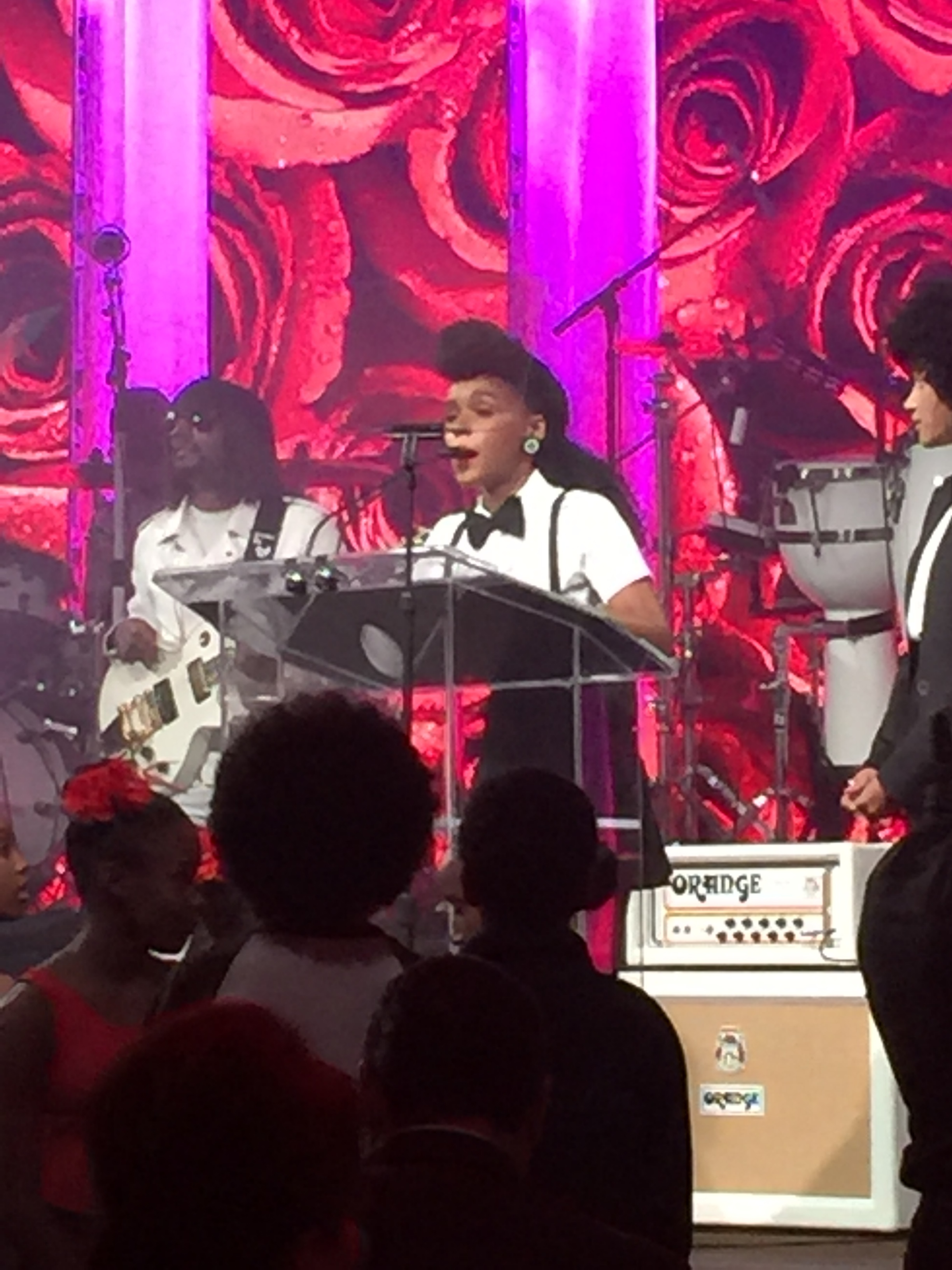 Janelle Monáe  was an event honoree and treated us to a performance. She opened with a Prince tribute,  Let's Go Crazy .