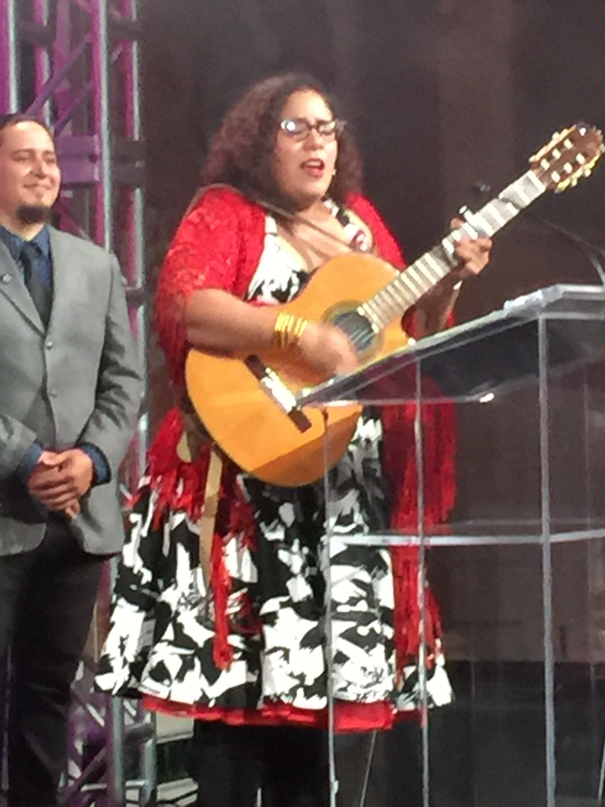La Santa Cecelia  is a Grammy Award winning musician. She sang and thanked AltaMed for the honor while wearing her BuDhaGirl All Weather Bangles.