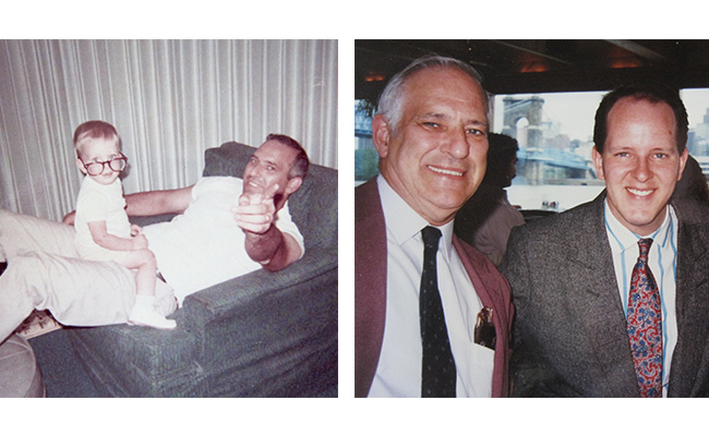 Left: Me, at 18 months, and Dad, the man whose great and crazy qualities I inherited.Right: Dad and me on the day I graduated from college.