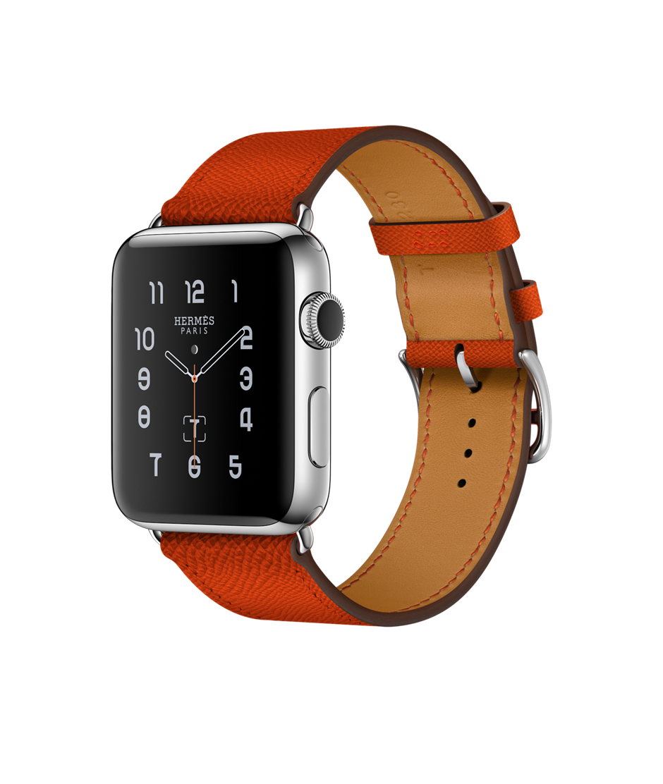 Track your fitness in style with the  Apple Watch Hermès Stainless Steel Case with Feu Epsom Leather Single Tour.