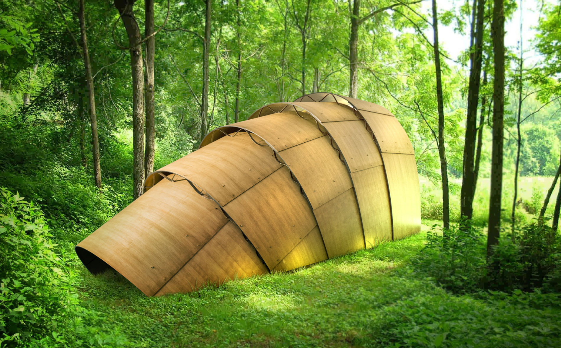 The  Armadillo Tea Pavillion is an innovative structure that serves as a shelter or place for reflection. Place this versatile, modular design indoors or out.