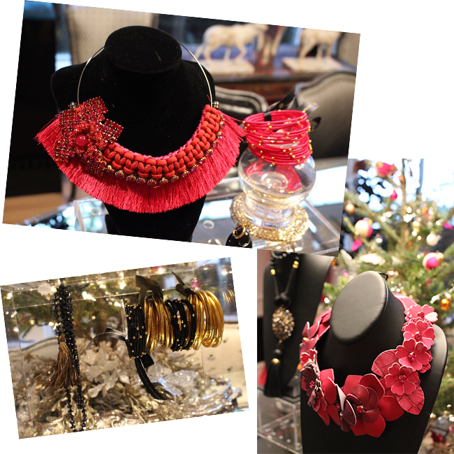 Top to Bottom:  Pitti Bib Necklace , Cha Cha Bead Bangles in  Peony ,  Gold All Weather Bangles , Cha Cha Bead Bangles in  Black ,  Fiori Bib Necklace