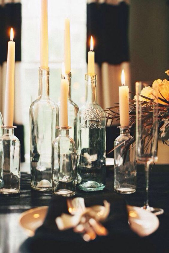 Add height to your candle display by using empty vases of all sizes.