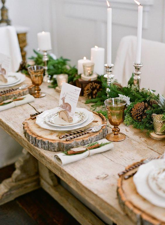 The holidays are a great time to play with texture in your place settings. Try a rustic, wood charger this year, or wrap a cinnamon stick and a tree trimming in with your napkin.