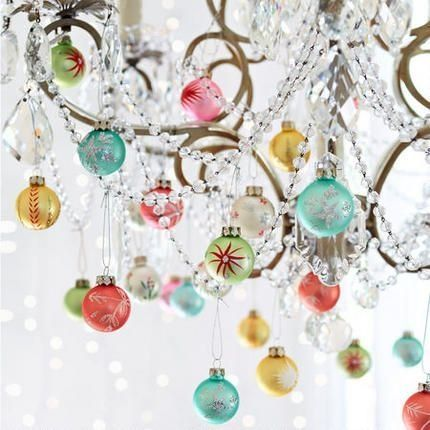 After you decorate your tree, don't forget to decorate your chandeliers with left over ornaments!