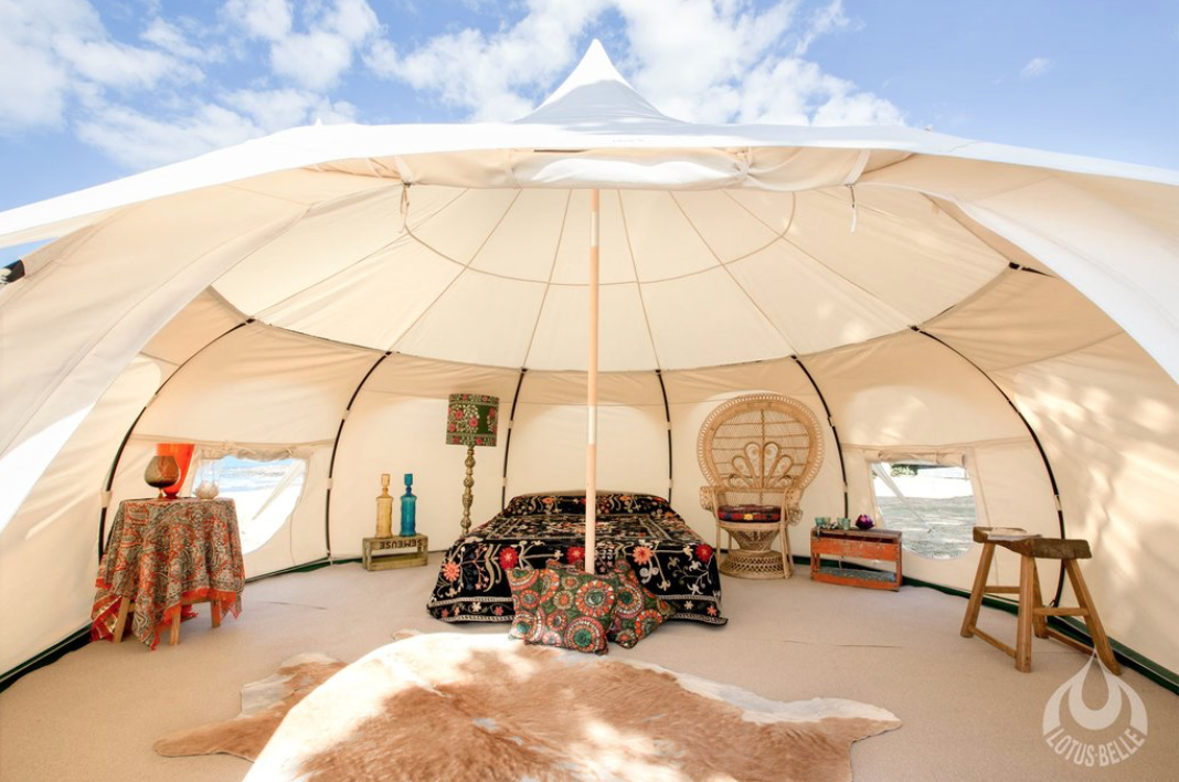 Have some extra room in your backyard? Consider this incredible  outback tent from Lotus Belle . Yoga studio, glamping sanctuary, meditation room - how would you use this tent?