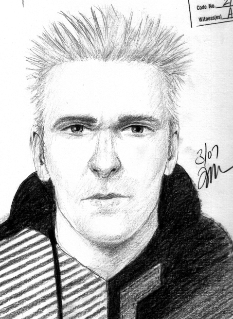 Serial robbery suspect sketch.