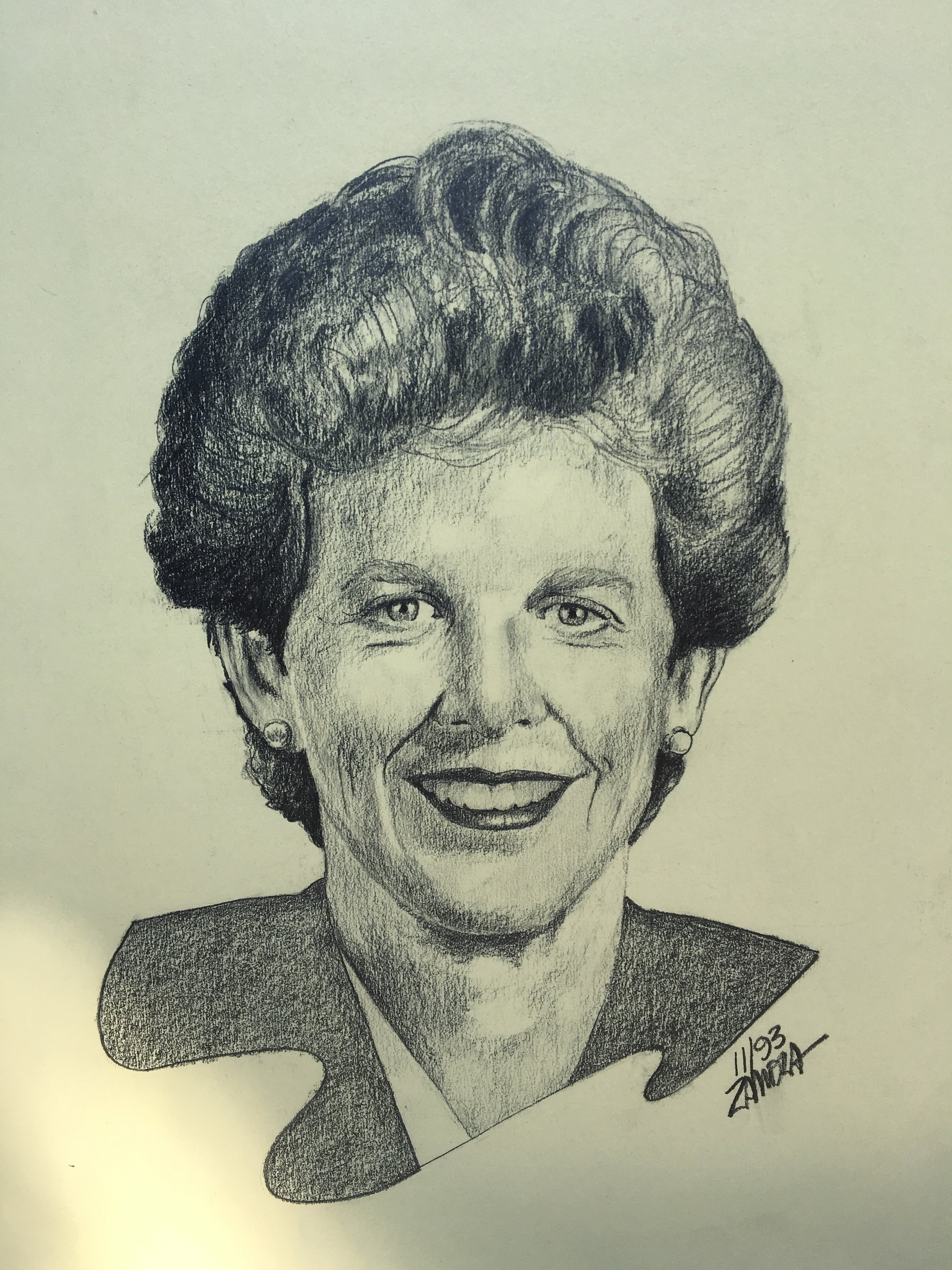 """Zamora, Gil.  Susan Hammer, Mayor of San Jose.  1993. Graphite on yellow paper, 12"""" x 17"""". Private collection."""
