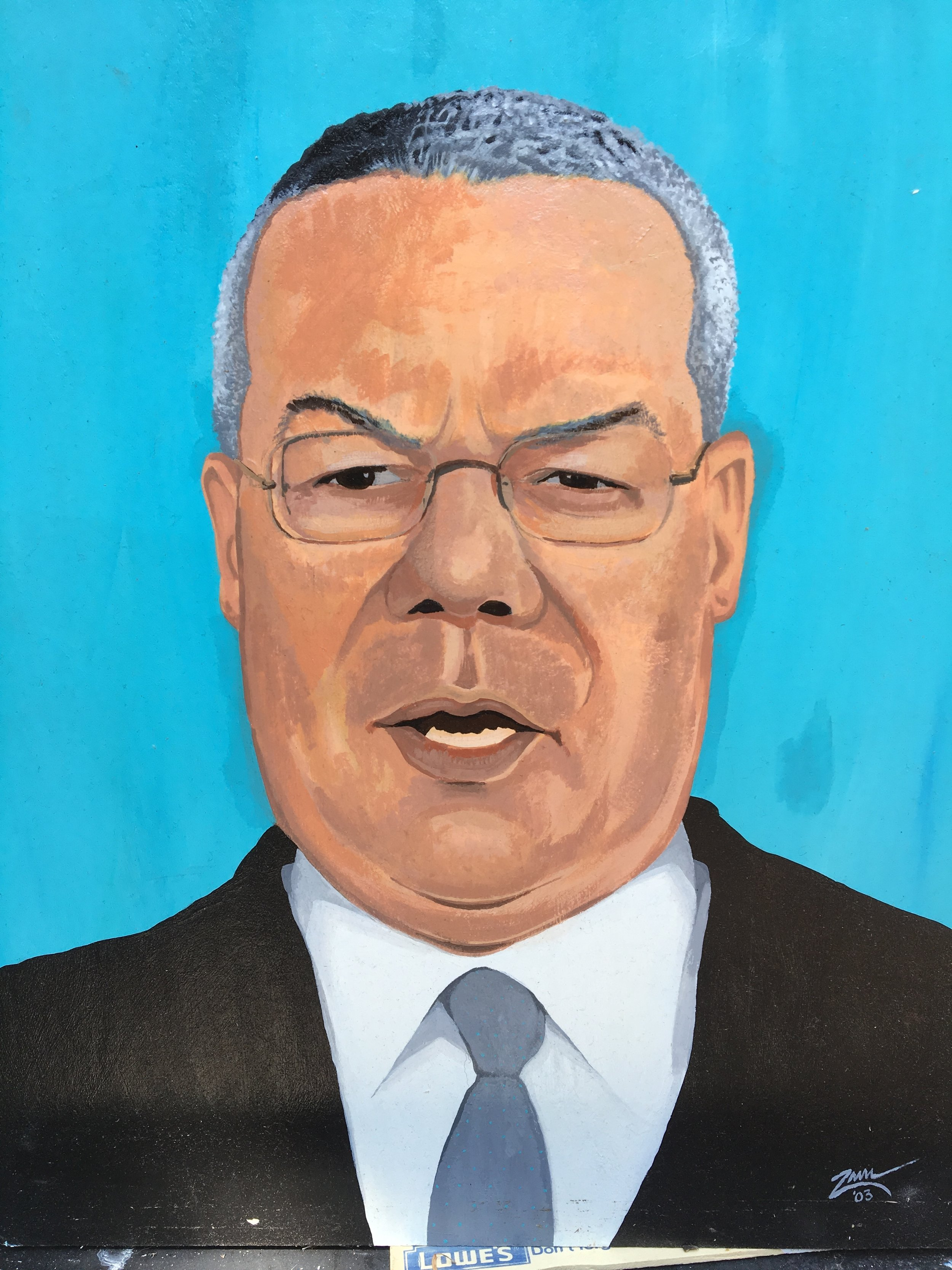 """Zamora, Gil.  Secretary of State, Colin Powell.  2003. Acrylic on illustration board, 15"""" x 20"""". Private collection."""
