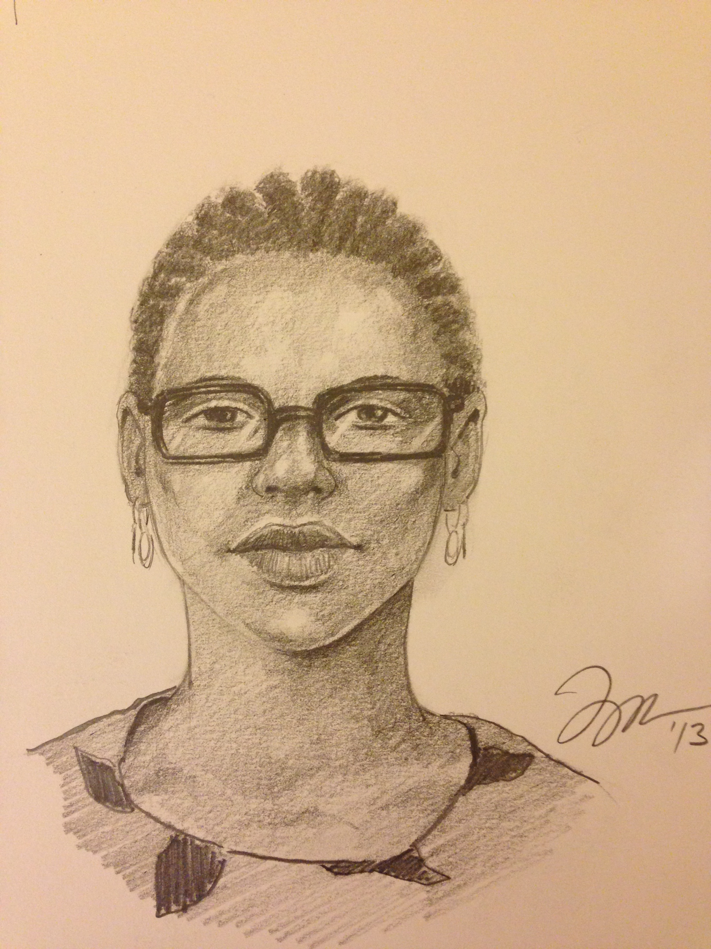 """Zamora, Gil.  Perspective Sketch: Lady with glasses . 2013. Graphite on paper, 11"""" x 14"""". Private collection."""