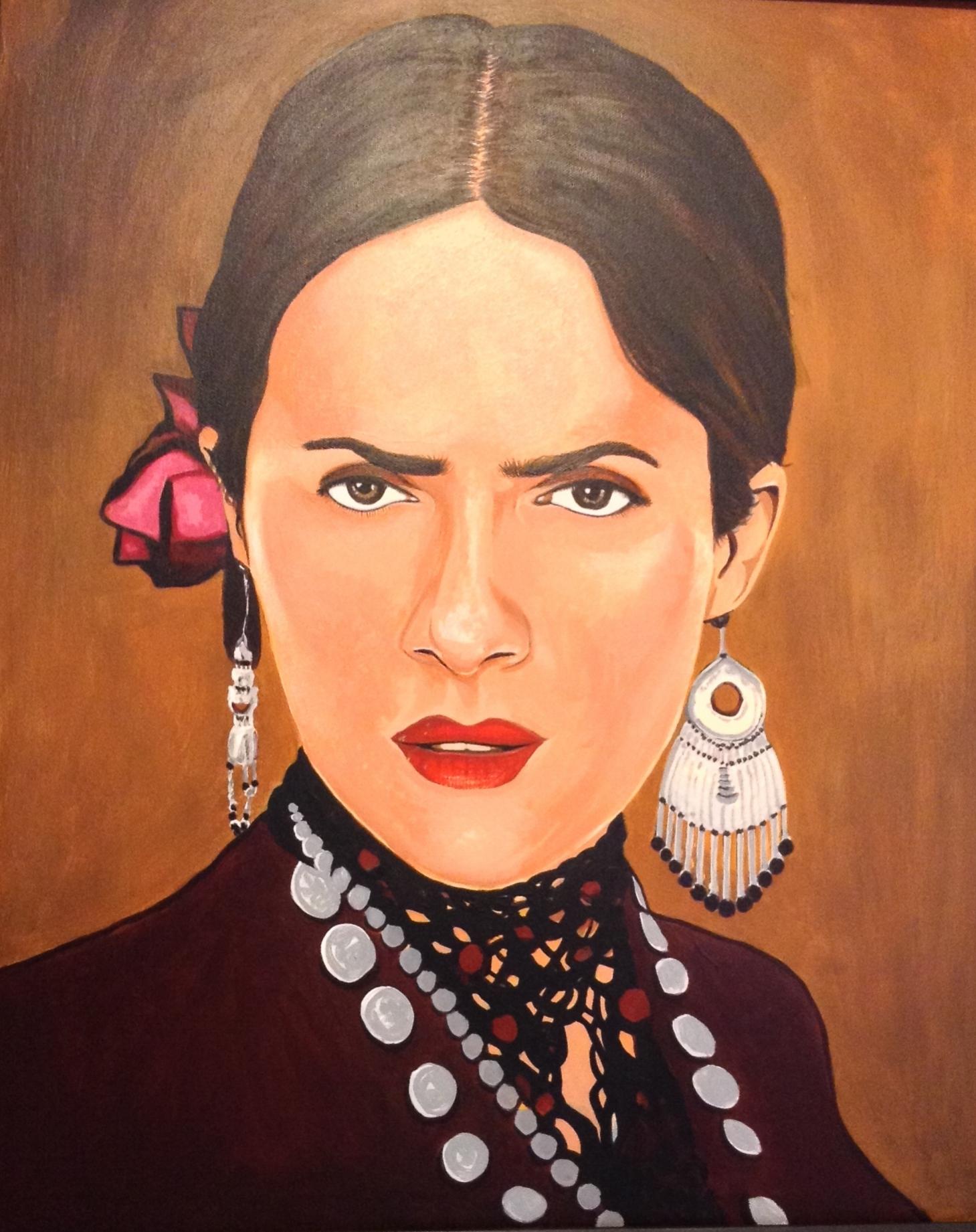 "Zamora, Gil.  Salma as Freda.  2010. Acrylic on canvas, 18"" x 24"". Private collection."
