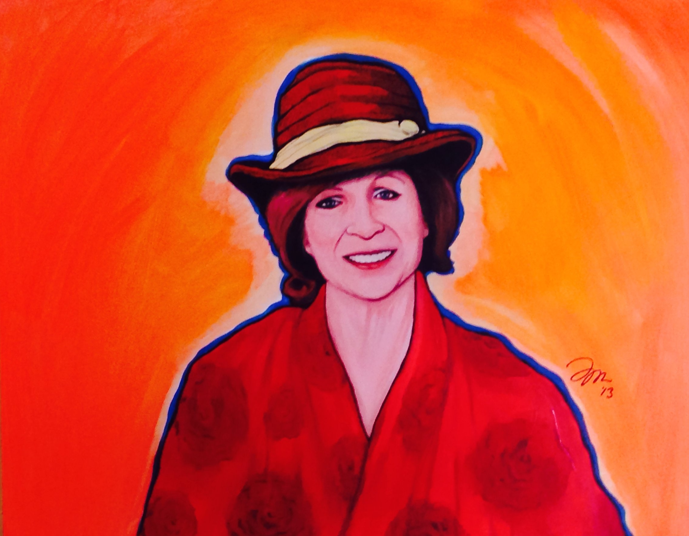 """Zamora, Gil.  Perspective Painting: Aunt Rosie with hat.  2013. Acrylic on canvas, 2"""" x 24"""". Private collection."""