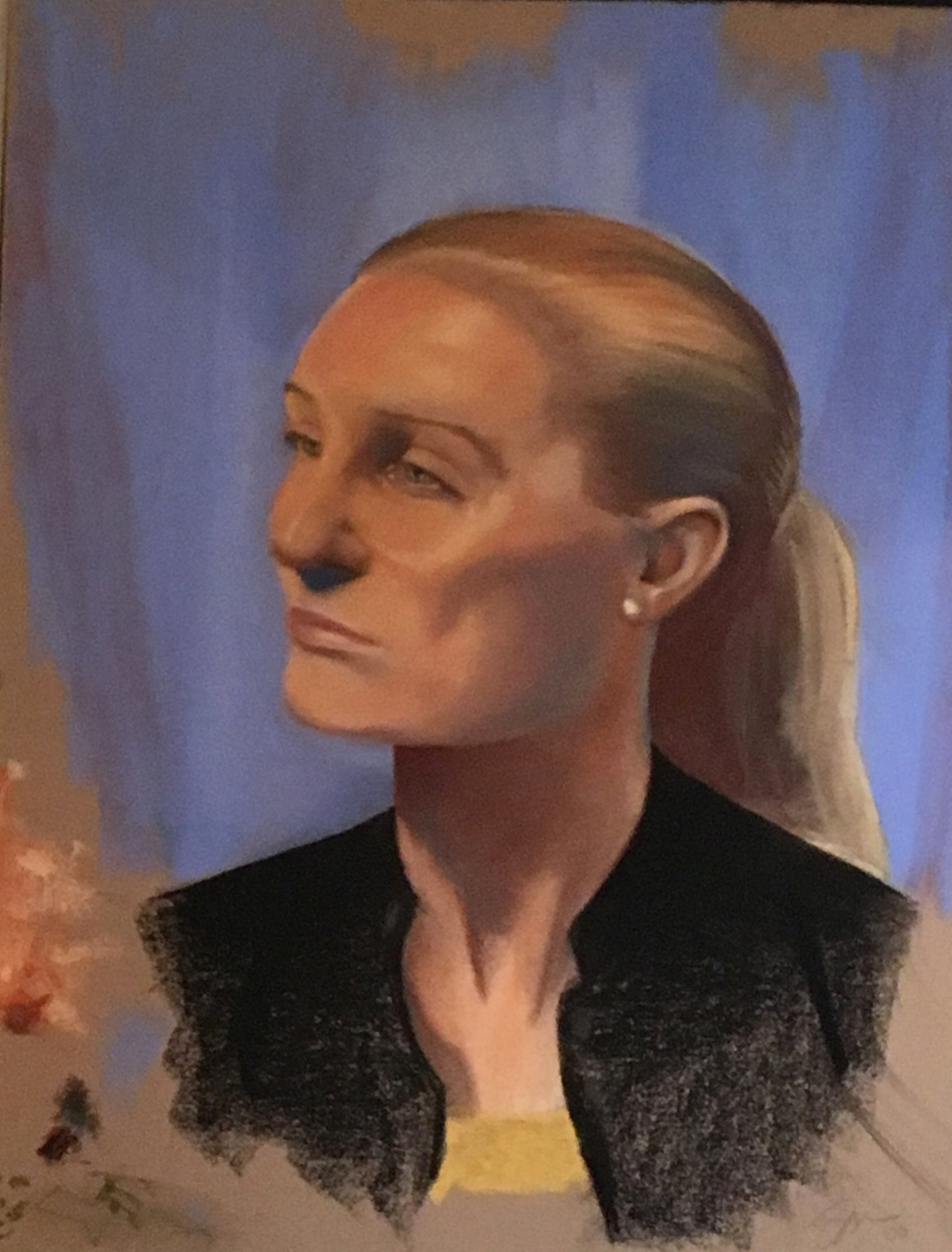 """Zamora, Gil.  Blonde model in black.  2000. Chalk pastel on brown paper, 20"""" x 25"""". Private collection."""