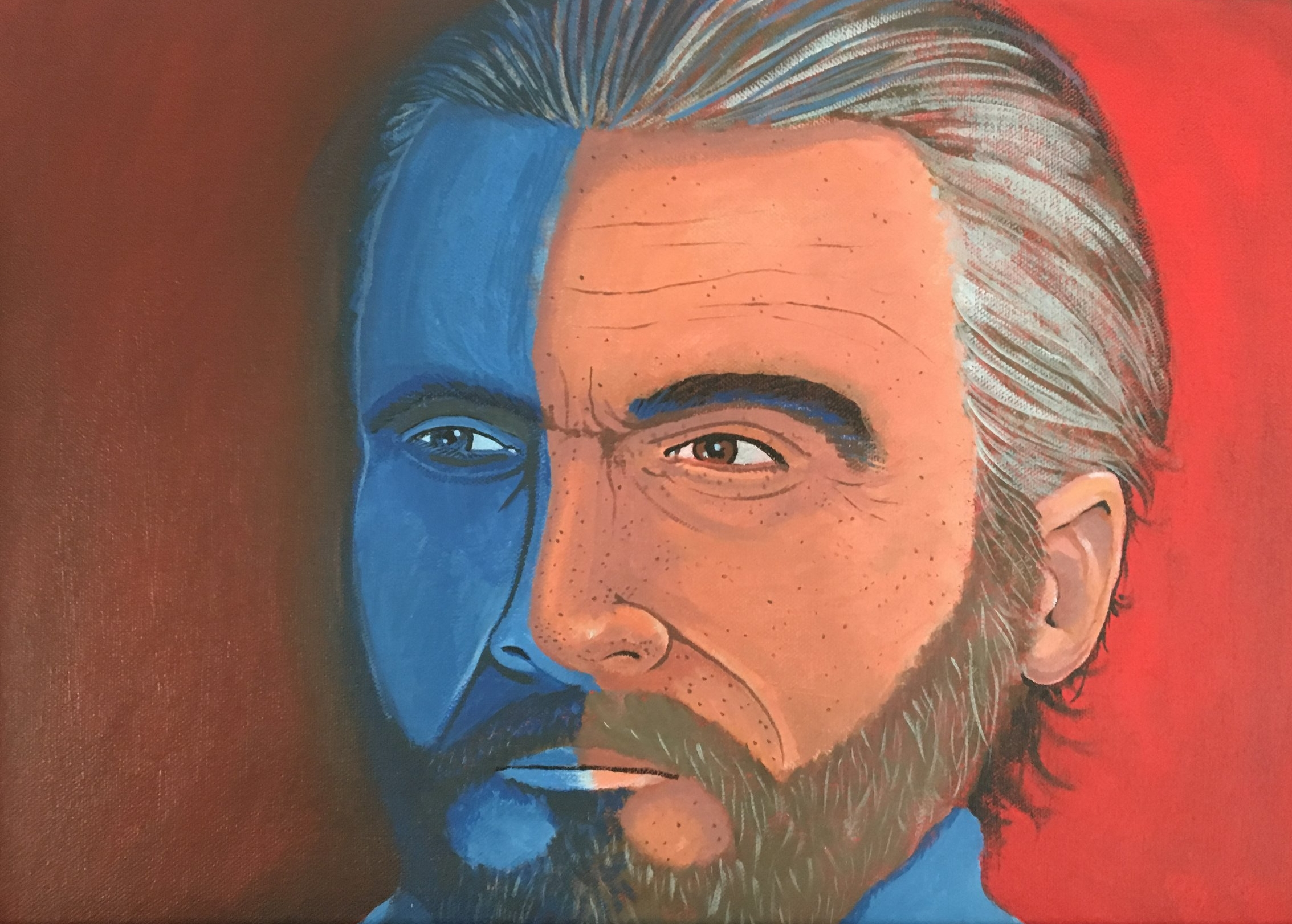 """Zamora, Gil.  Perspective painting: Self portrait.  Acrylic on canvas, 12"""" x 16"""". Private collection."""