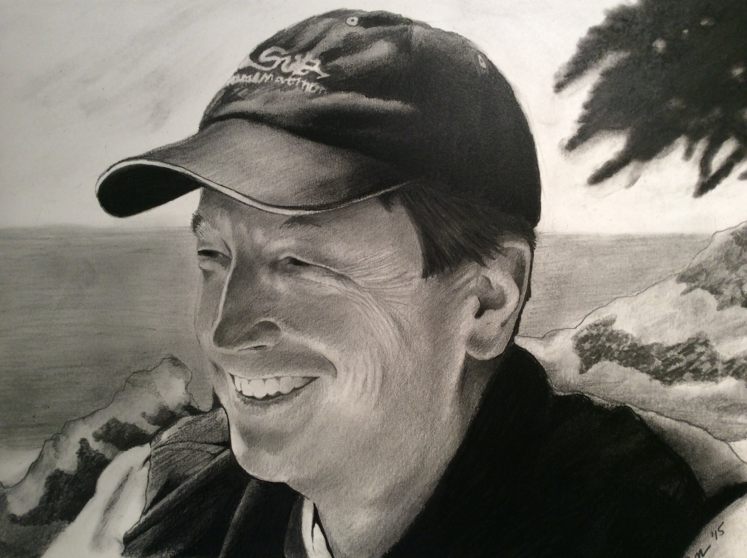 """Zamora, Gil.  Perspective sketch of Mr. Hoyt.  2015. Graphite on paper, 11"""" x 14"""". Bill Hoyt private collection."""