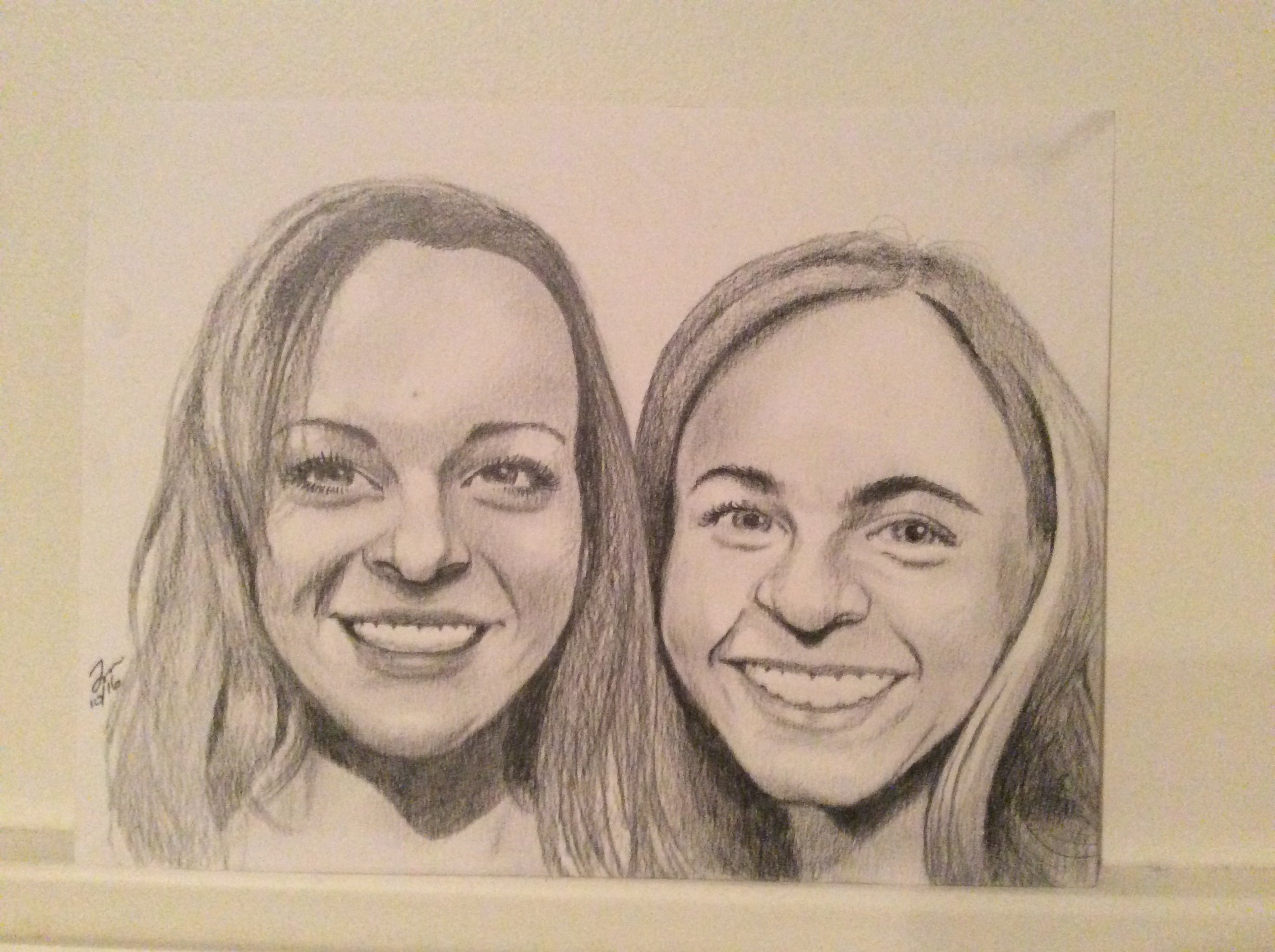 """Zamora, Gil.  Perspective sketch of Meghan and friend.  2016. Graphite on paper, 11"""" x 14"""". Dadiego private collection."""