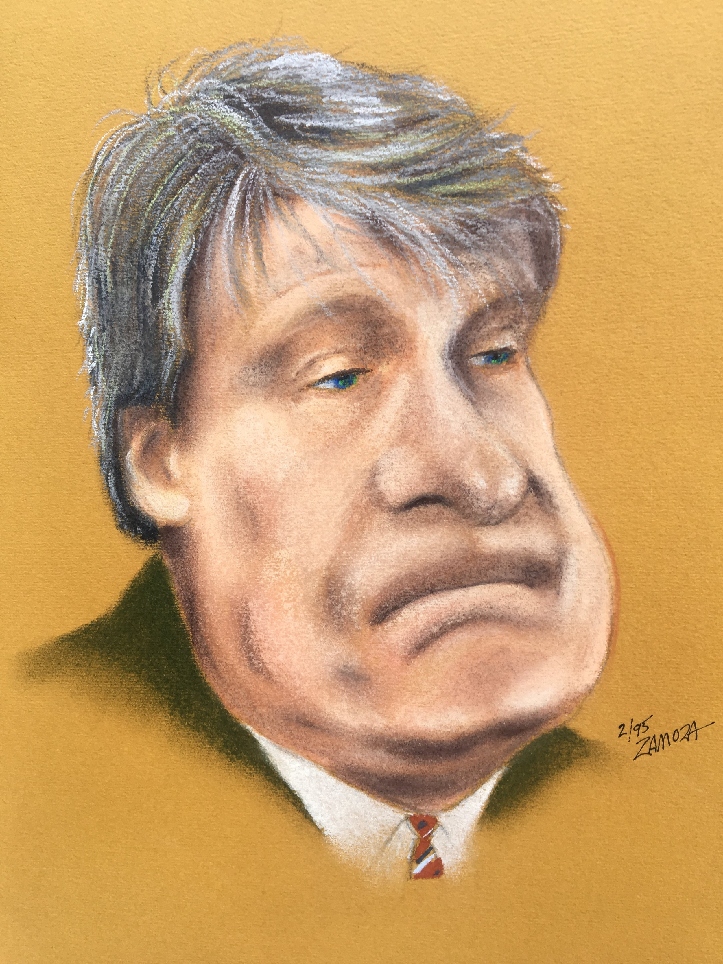 """Zamora, Gil. Caricature of  Don Nelson.  1995. Chalk pastel on colored paper, 12"""" x 14"""". Private collection."""