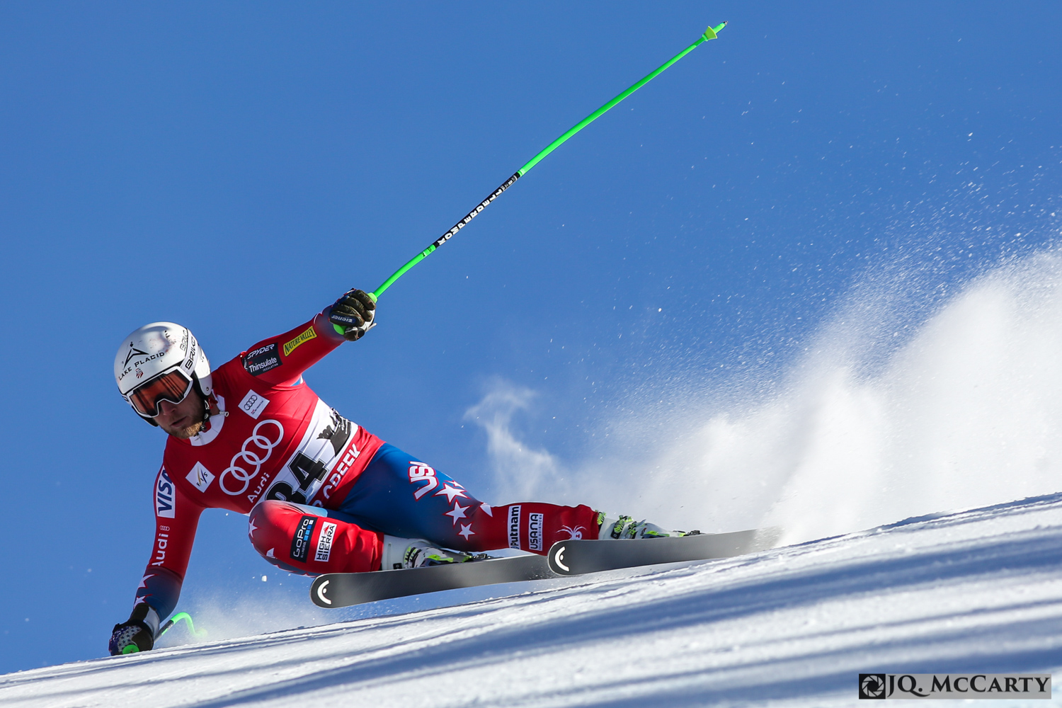 American Andrew Weibrecht gets sideways while negotiating a turn into the brink section of the Birds of Prey World Cup downhill race Friday in Beaver Creek. Weibrecht finished 5th with a time of 1 minute, 43.31 seconds.