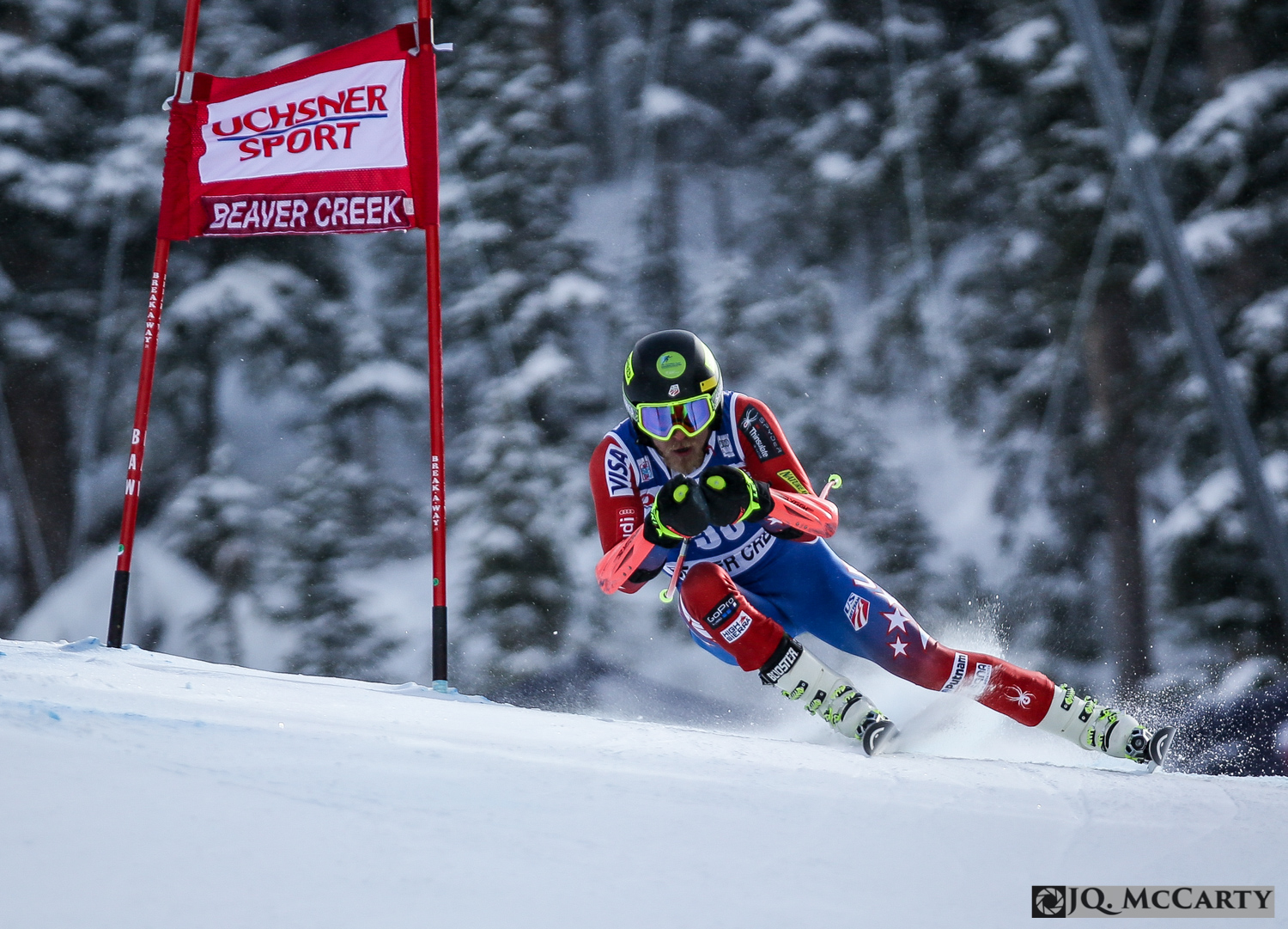 Tommy Ford, of the United States, holds a nice line while passing through the Screech Owl section of the Birds of Prey World Cup super-G race Saturday in Beaver Creek. Ford finished in 28th position with a time of 1 minute, 8.29 seconds.