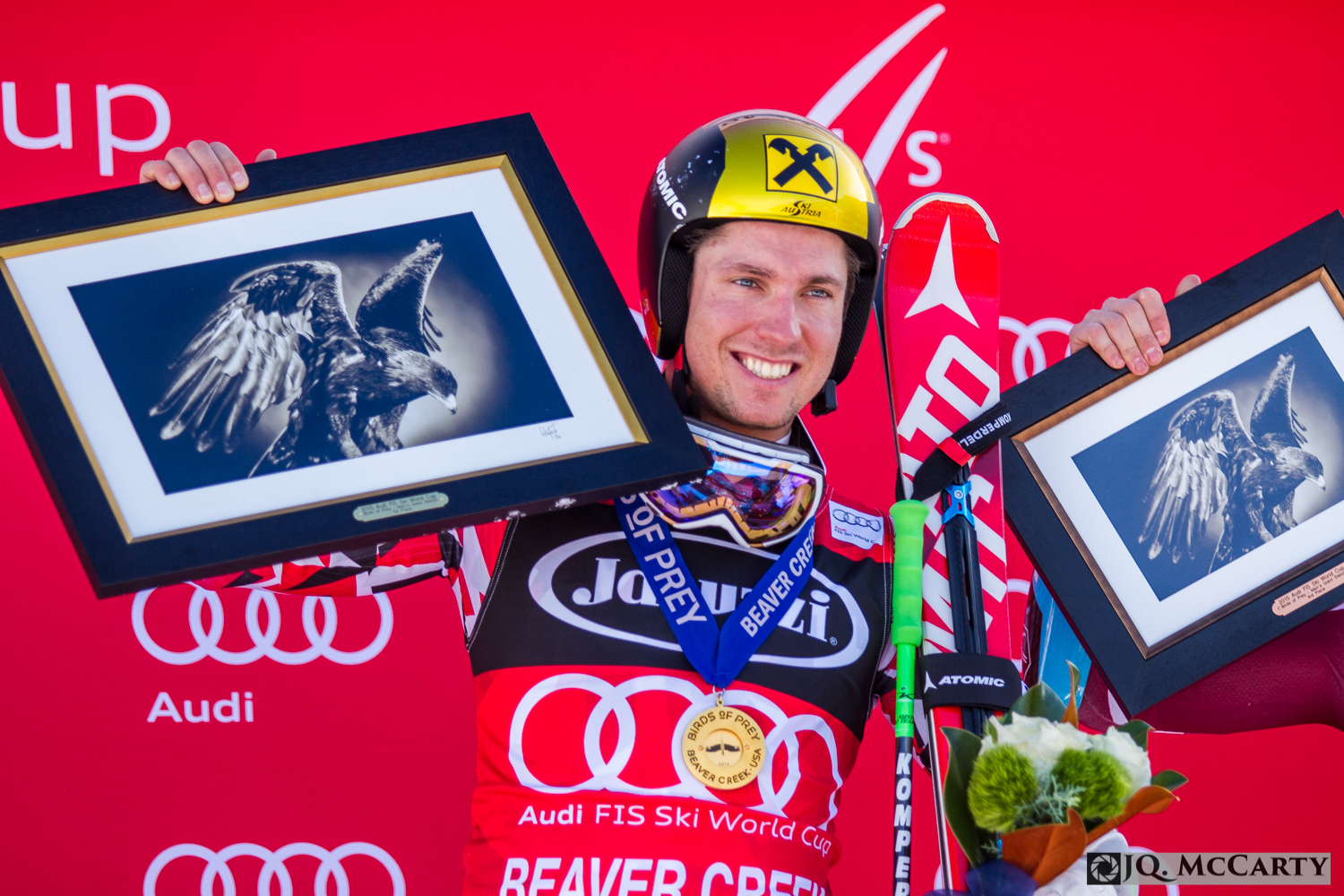 Austrian Marcel Hirscher celebrates another World Cup gold medal after winning the giant slalom race at the Birds of Prey World Cup event Sunday in Beaver Creek.