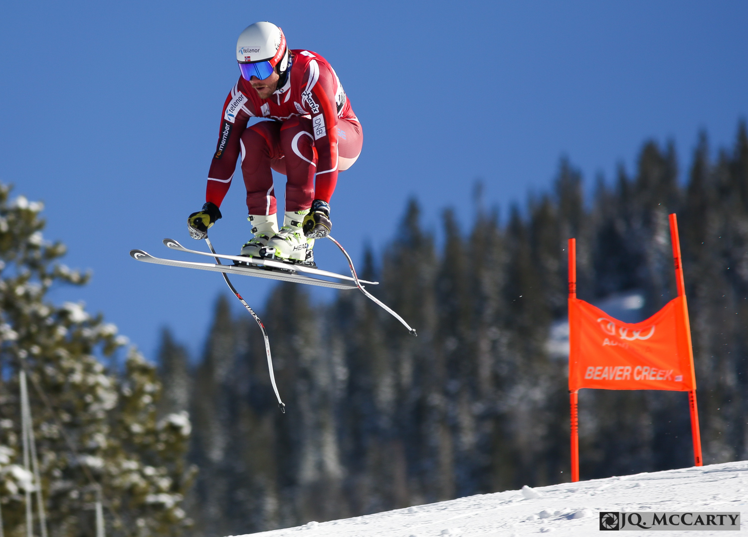 Kjetil Jansrud goes off of the Red Tail jump while racing down the Birds of Prey World Cup ski race course during the first day of downhill training Wednesday in Beaver Creek. Jansrud was the fastest skier of the day with a time of 1 minute, 44.04 seconds.