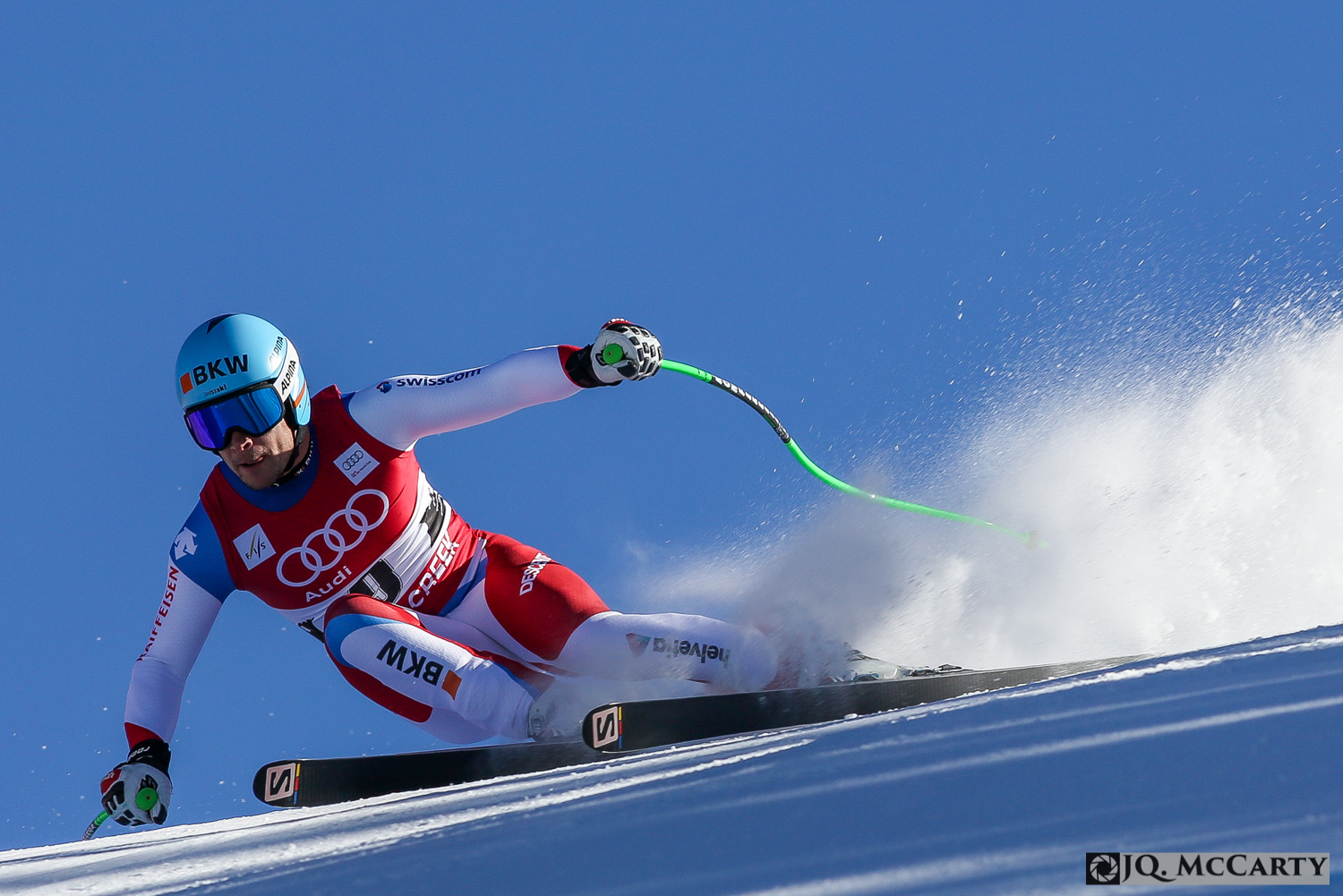 Switzerland's Patrick Kueng rips through the brink section of the Birds of Prey World Cup downhill race Friday in Beaver Creek. Kueng finished ninth fastest with a time of 1 minute, 43.59 seconds.