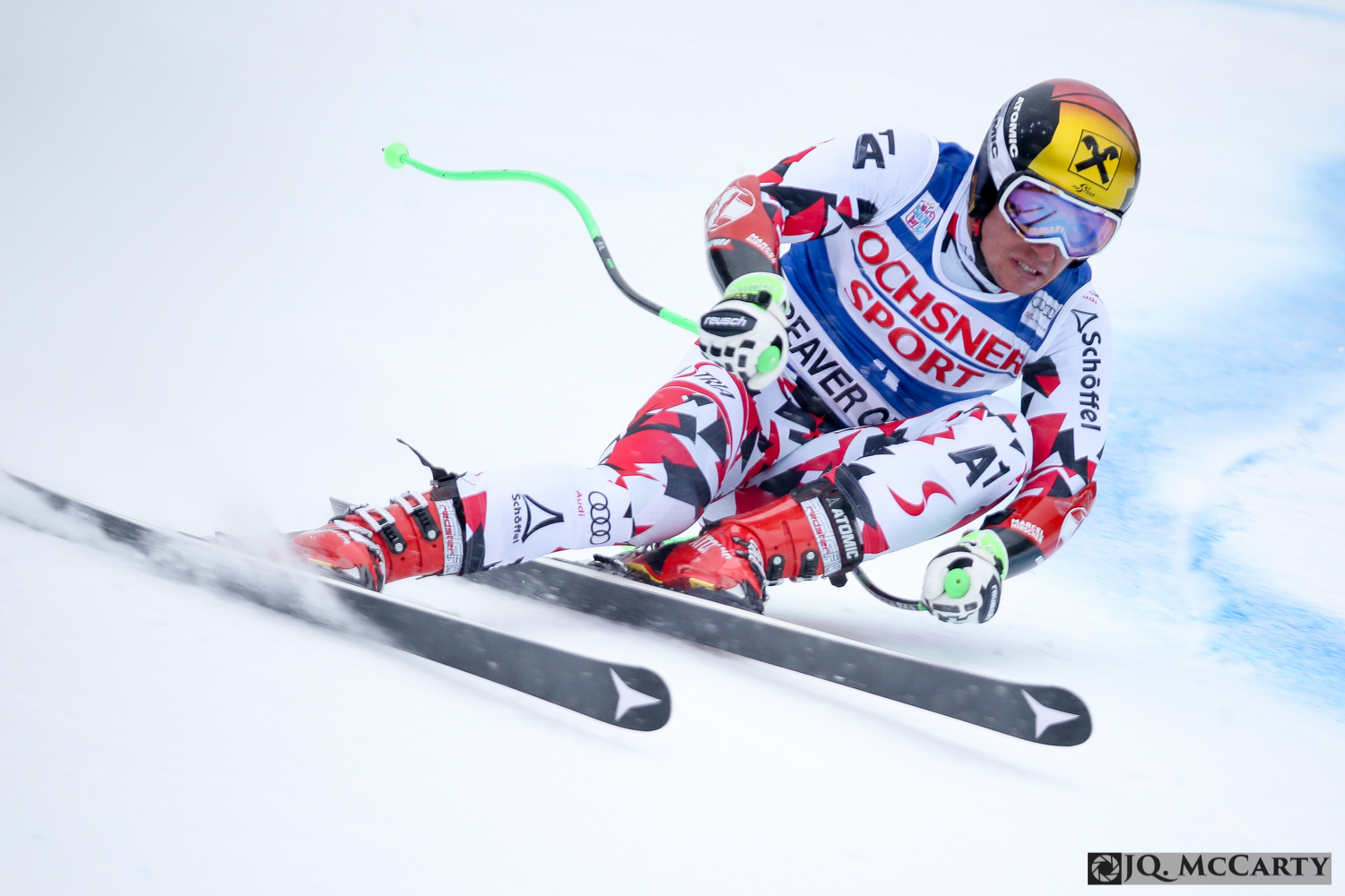 Austrian Marcel Hirscher charges around a turn while making fast work of the Birds of Prey World Cup super-G race course Saturday in Beaver Creek. Hirscher took home the gold medal with a time of 1 minute, 6.90 seconds.