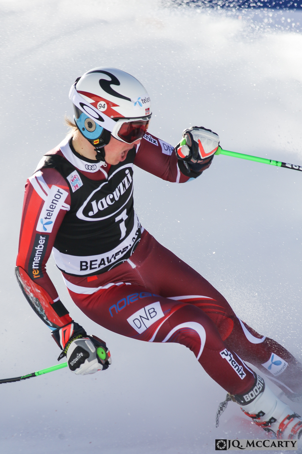 Norwegian Henrik Kristoffersen celebrates after completing his second run putting him on the podium in the Birds of Prey World Cup giaint slalom race Sunday in Beaver Creek. Kristoffersen fininshed in third place with a combined two run time of 2 minutes, 33.89.