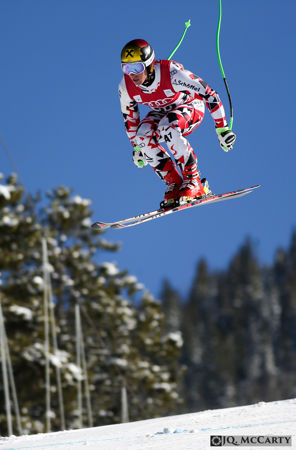 Austria's Marcel Hirscher catches some air after launching off the Red Tail jump during the first day of training for the Birds of Prey downhill race Wednesday in Beaver Creek.