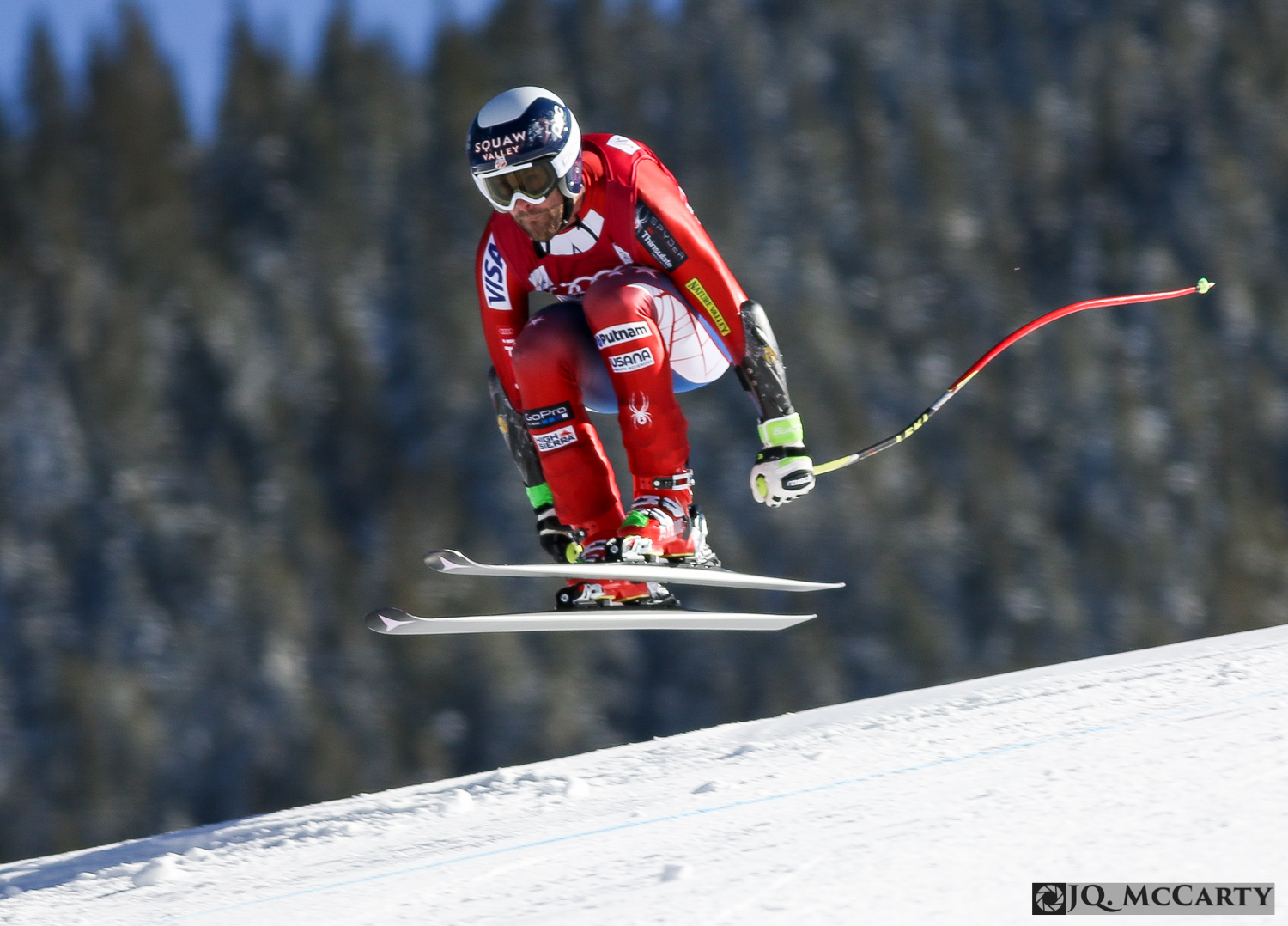 Travis Ganong, of the United States, launches off of the lip at the Red Tail jump during downhill training of the Birds of Prey World Cup ski race Wednesday in Beaver Creek. Ganong finished 38th fastest with a time of 1 minute, 46.44 seconds.
