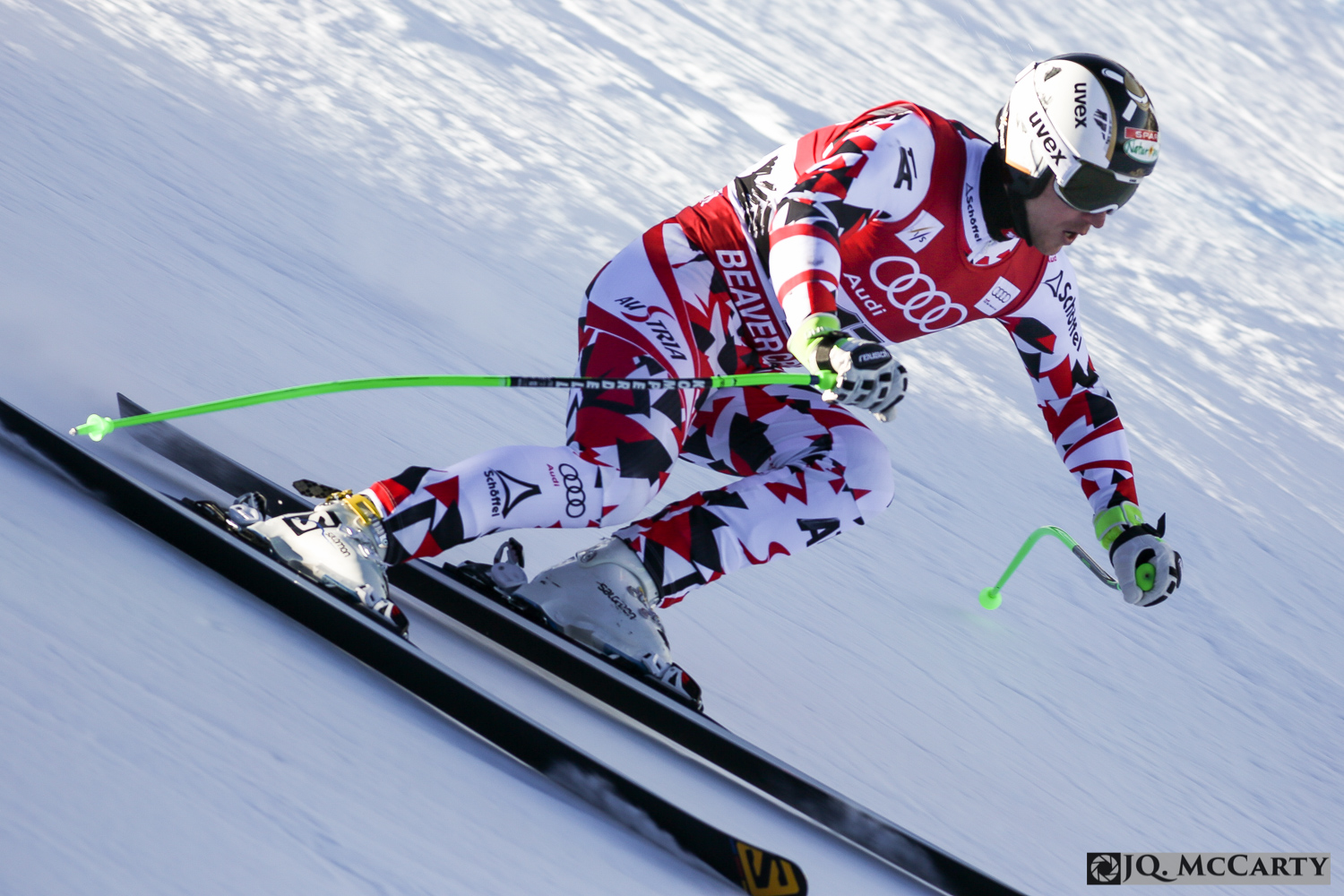 Austria's Hannes Reichelt soars through the Talon's section of the Birds of Prey World Cup race course during the second day of training Wednesday in Beaver Creek. Reichelt finished third fastest on the day with a time of 1 minute, 43.38 seconds.