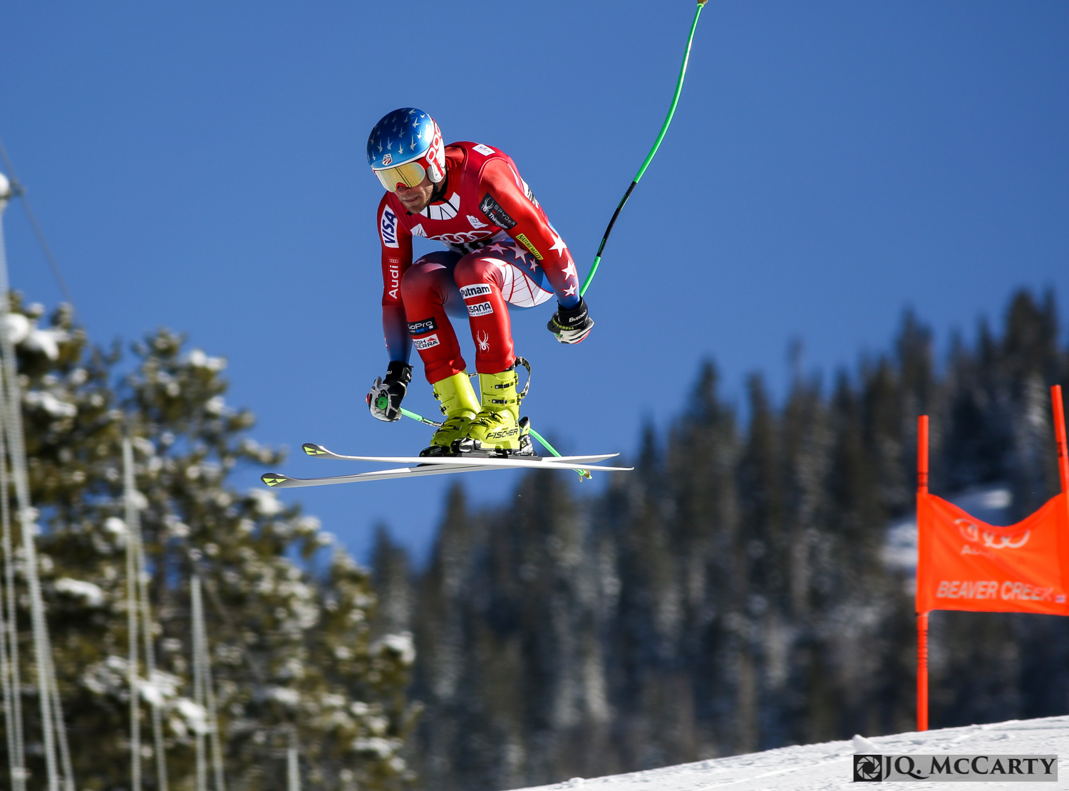World Cup ski racer Steven Nyman launches off of the Red Tail jump during the first day of downhill training for the Birds of Prey race Wednesday in Beaver Creek.