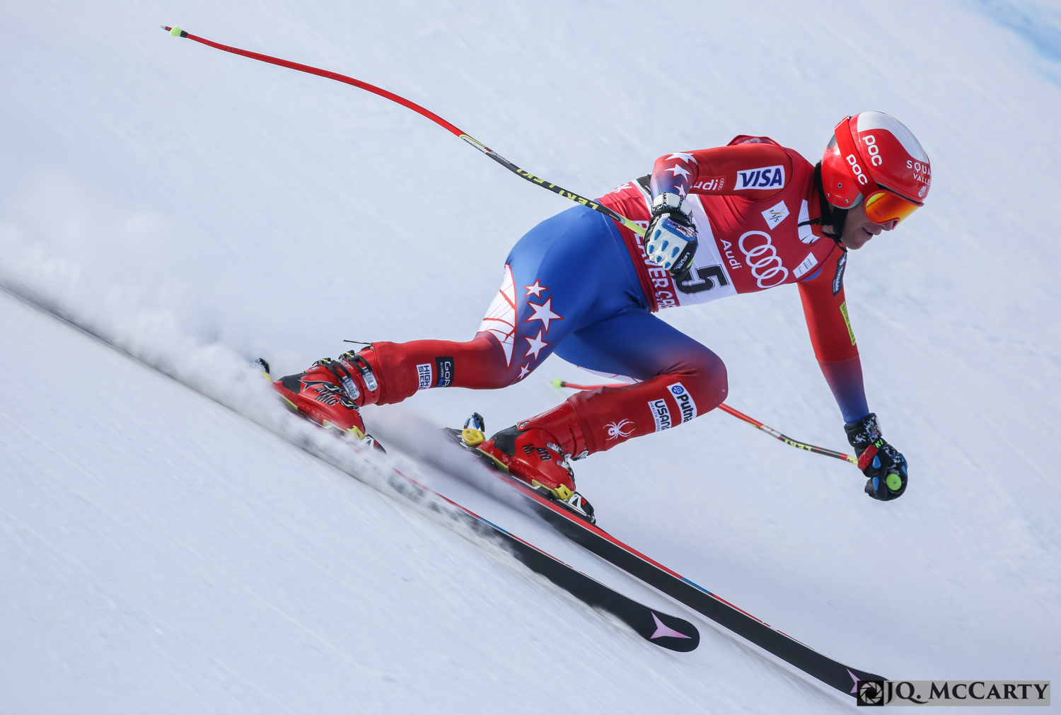 Marco Sullivan, of the United States, speeds down the course during the second day of training of the Birds of Prey World Cup downhill race Thursday in Beaver Creek. Sullivan finished 30th fastest on the day with a time of 1 minute, 45.50 seconds.