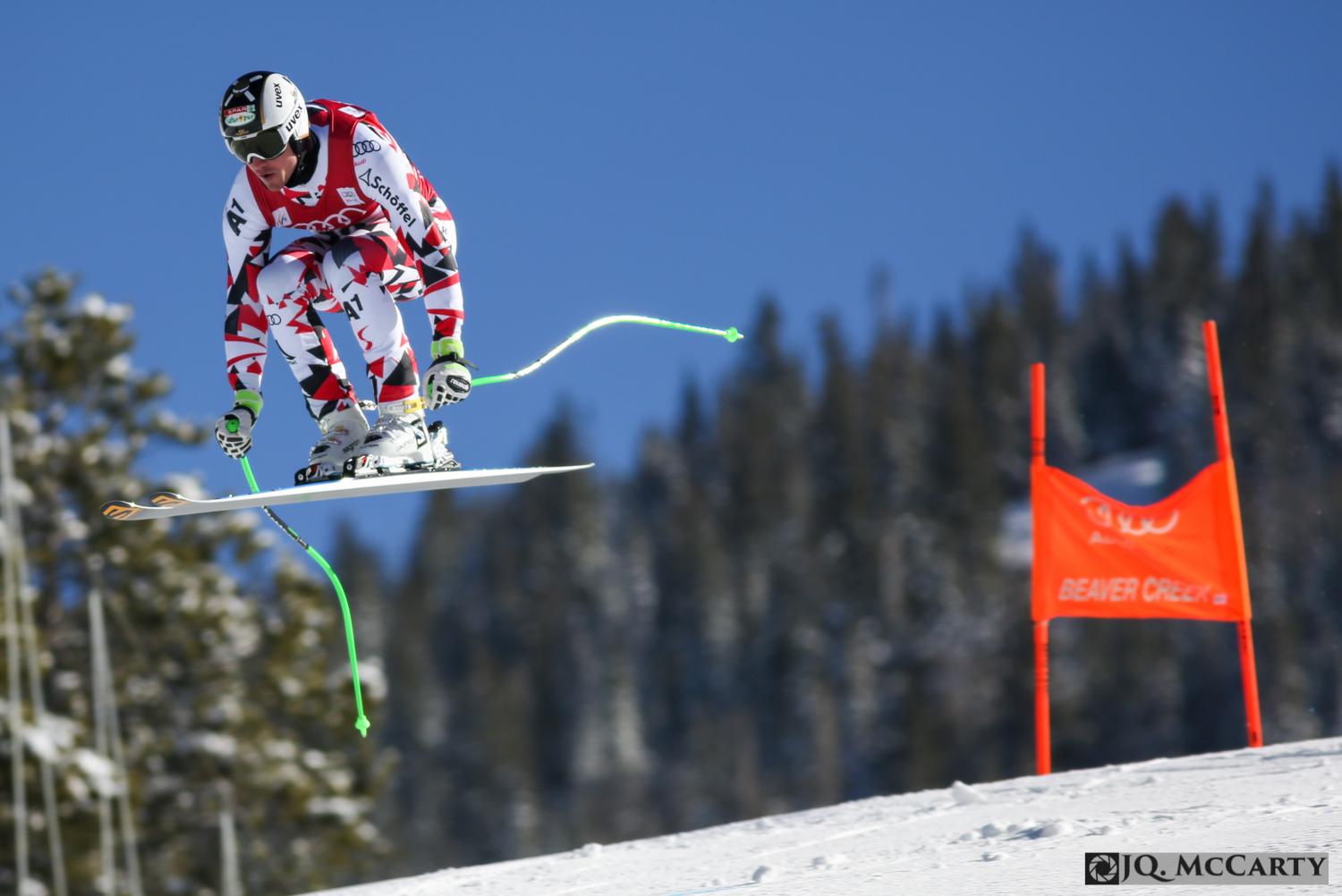 Austria's Hannes Reichelt flies over the Red Tail jump during the first day of downhill training for the Birds of Prey World Cup ski race Wednesday in Beaver Creek. Reichelt finished 7th fastest with a time of 1 minute, 44.65 seconds.