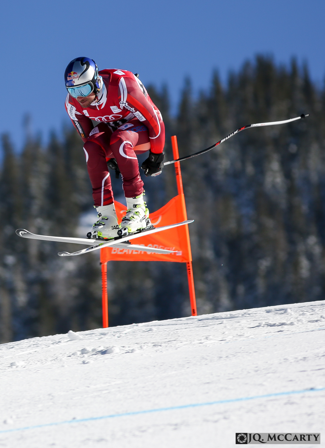 Norway's Aksel Lund Svindal leaves the snow after passing the Red Tail jump on the Birds of Prey World Cup downhill course during the first day of training Wednesday in Beaver Creek.