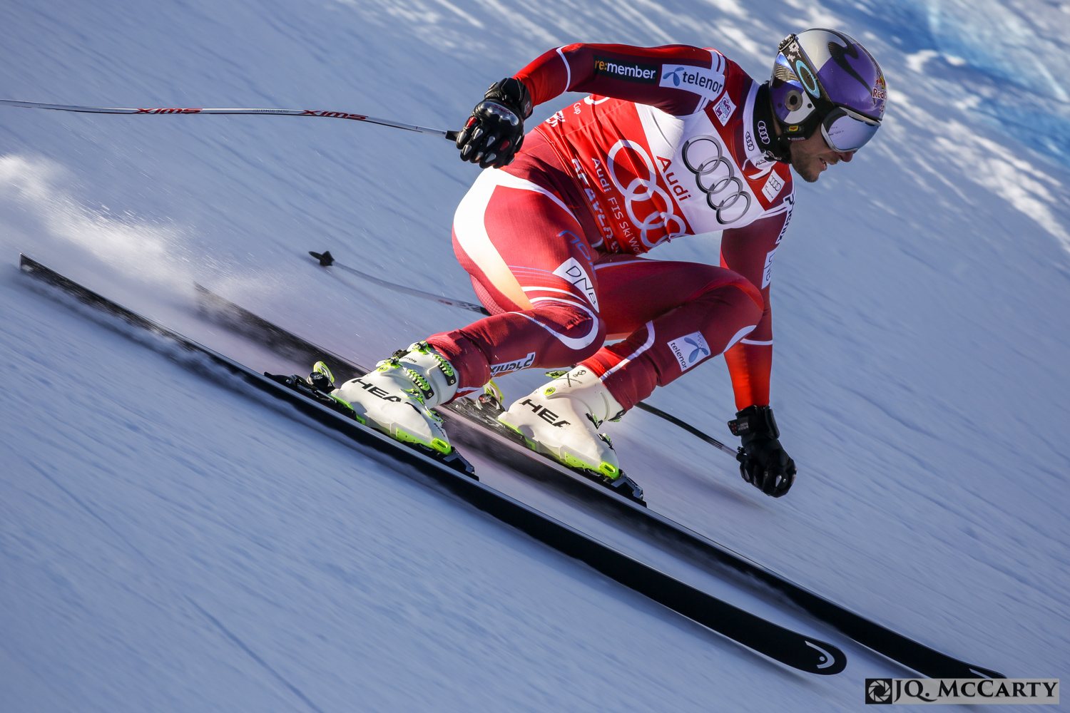 Norway's Aksel Lund Svindel holds a sharp edge while flying through the Talon's section of the Birds of Prey World Cup race course for the second day of training Thursday in Beaver Creek. Svindel finished fourth fastest on the day with a time of 1 minute, 43.63 seconds.