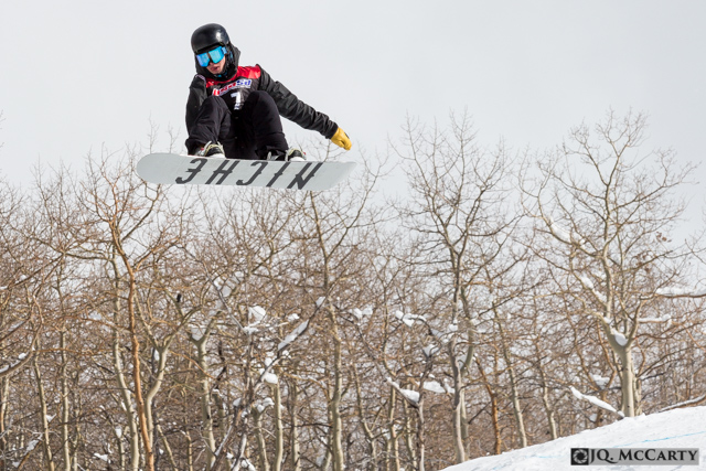 Spencer Vaughan, of Steamboat Springs, flies through the air while spinning a frontside rotation off a kicker during the USASA slopestyle competition Saturday, January 10th, in Golden Peak. Vaughan finished with the highest points in the men's open division with a score of 90.0.
