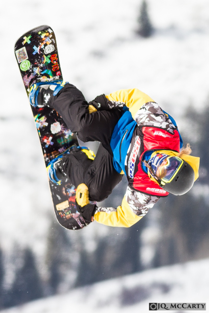 Dalton Vickles, of Highlands Ranch, stays in a tucked position while coming through the second rotation of a double backflip during the USASA slopestyle competion Saturday, January 10th, in Vail.