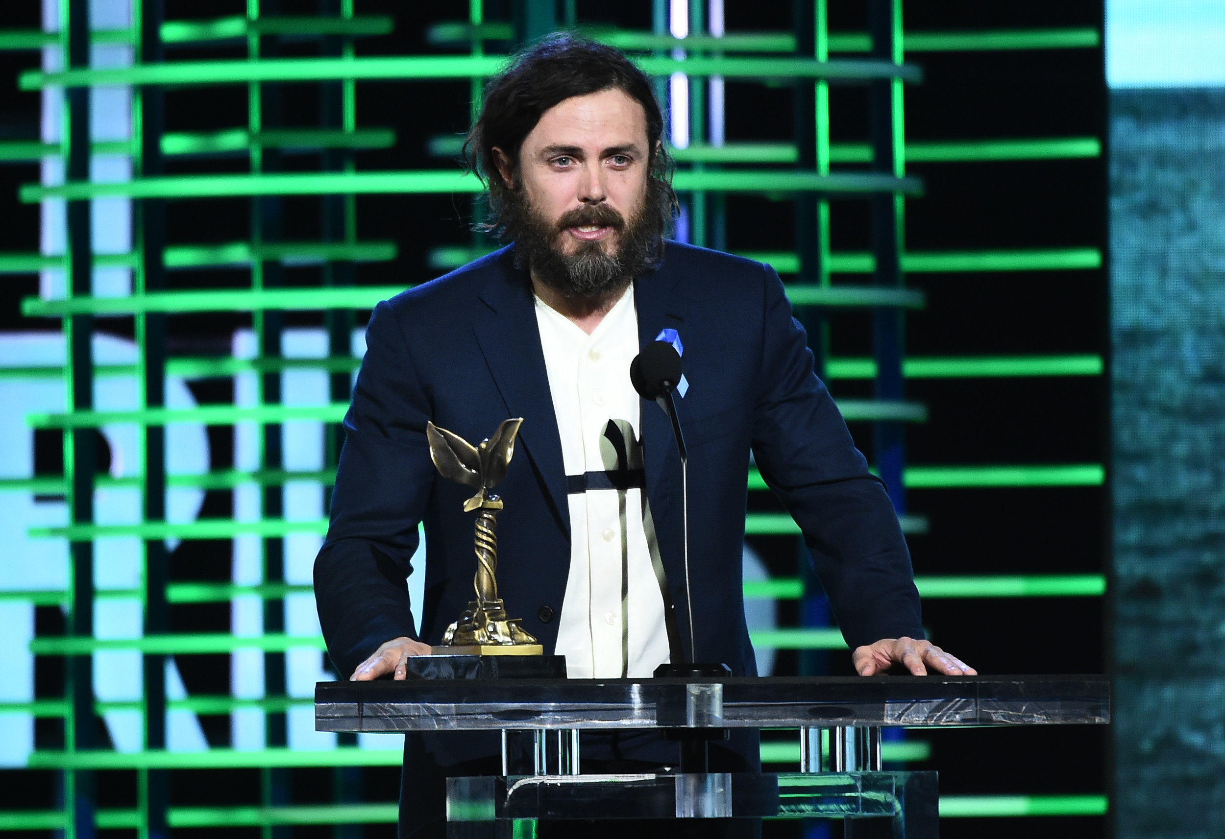 Casey Affleck got political at the podium- preview for tomorrow night?