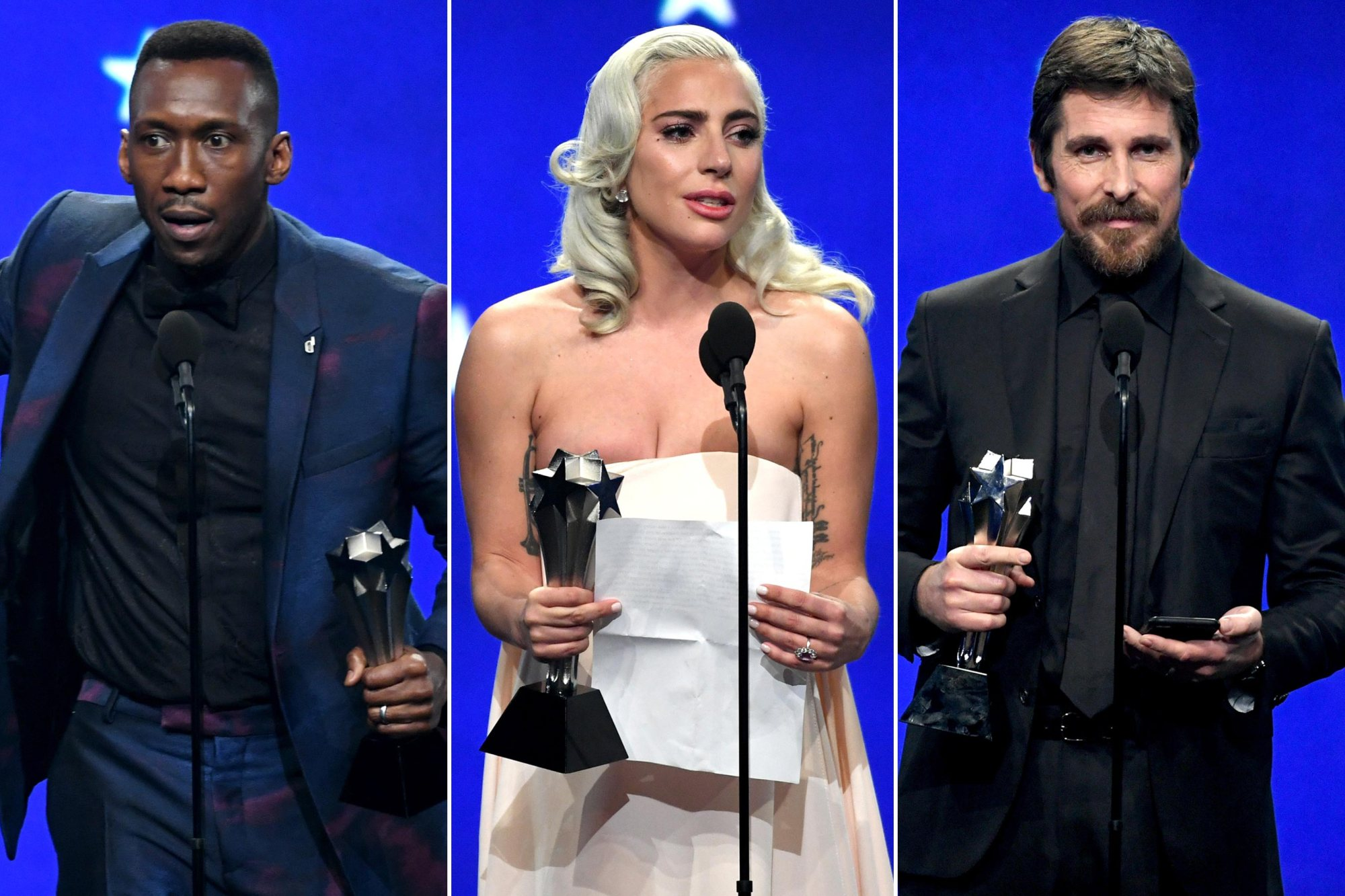 Oscar hopefuls Mahershala Ali, Lady Gaga and Christian Bale all won tonight at the Critics Choice awards