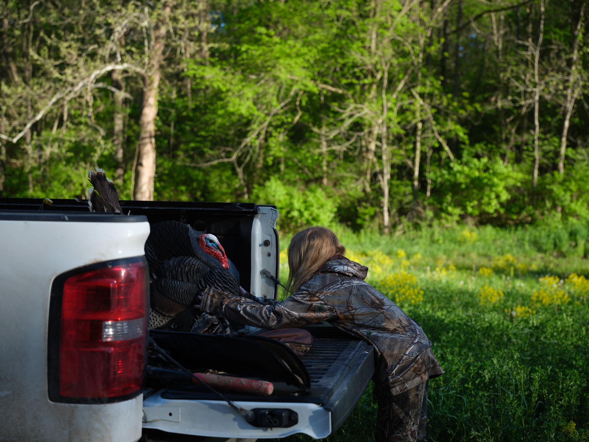 Father and daughter turkey hunt in Illinois