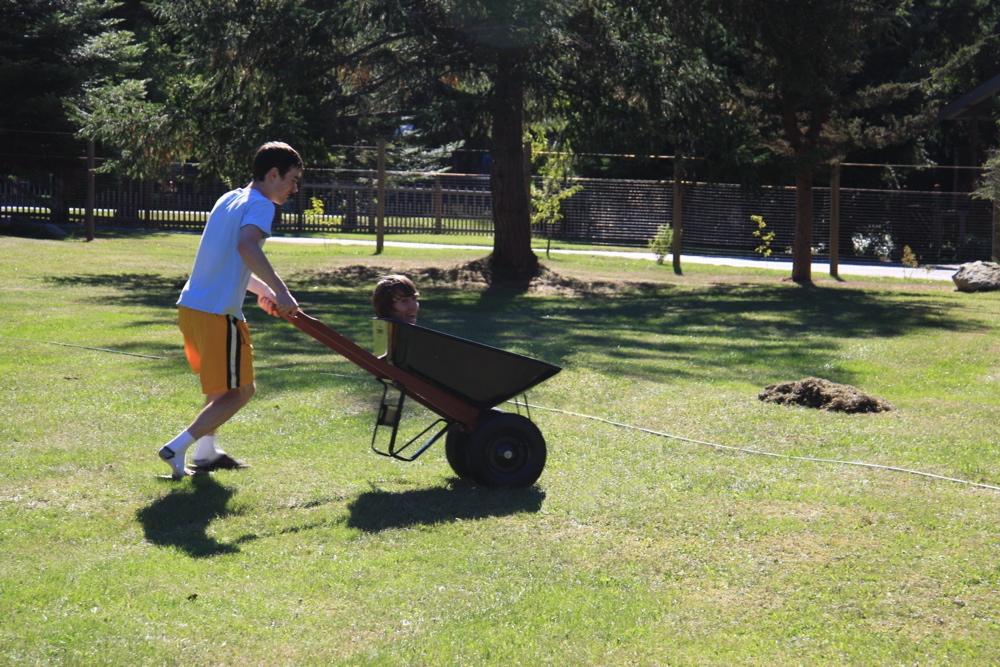 Taking a head for a wheelbarrow ride
