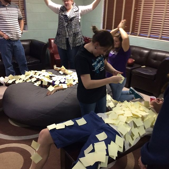 Great night last night! We got to talk about if our worship makes God smile and cover Emma and Luke in post it notes. Next time I'll bring hot glue.