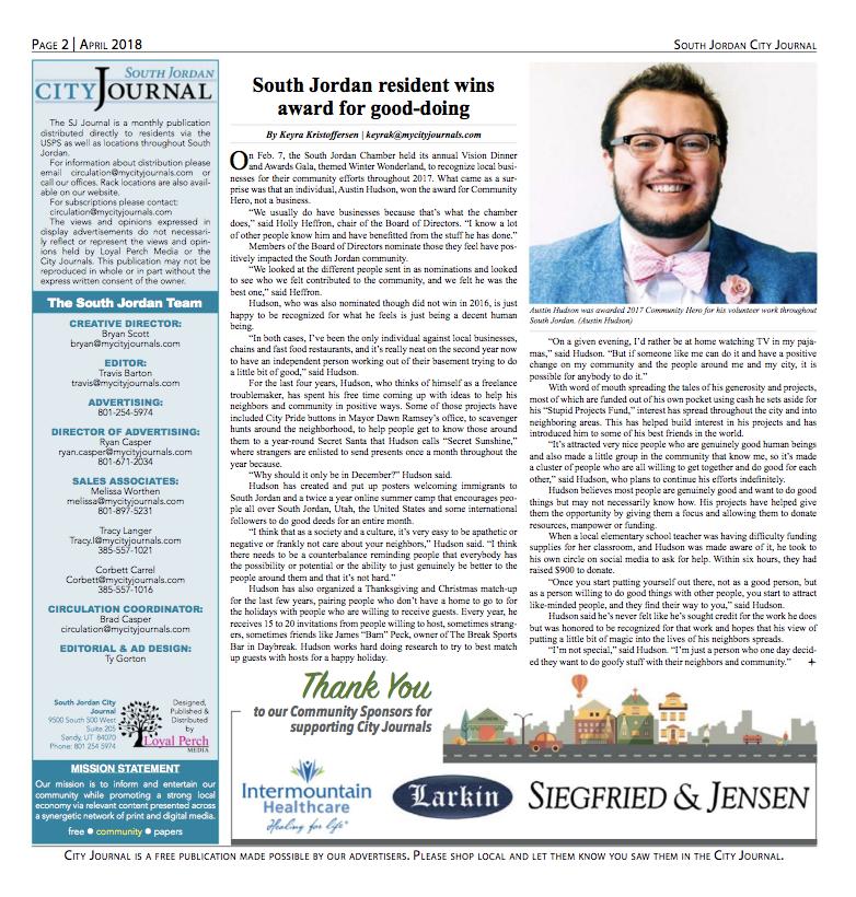 South Jordan City Journal | South Jordan resident wins award for good-doing